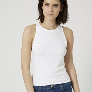 Topshop White Ribbed Slim Tank Top Size 6 NEW